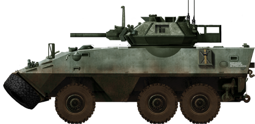 The Cougar was armed with the Scorpion light tank's turret. It was based on the Piranha II 6x6 and was a pure reconnaissance vehicle.