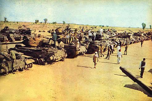Destroyed and captured Pakistani Pattons gathered after the battle of Asal Uttar