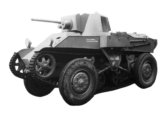 Stridsvagn fm/30 L-30 convertible tank/armored car with the weird wheel-cum-track arrangement in the 1930s.