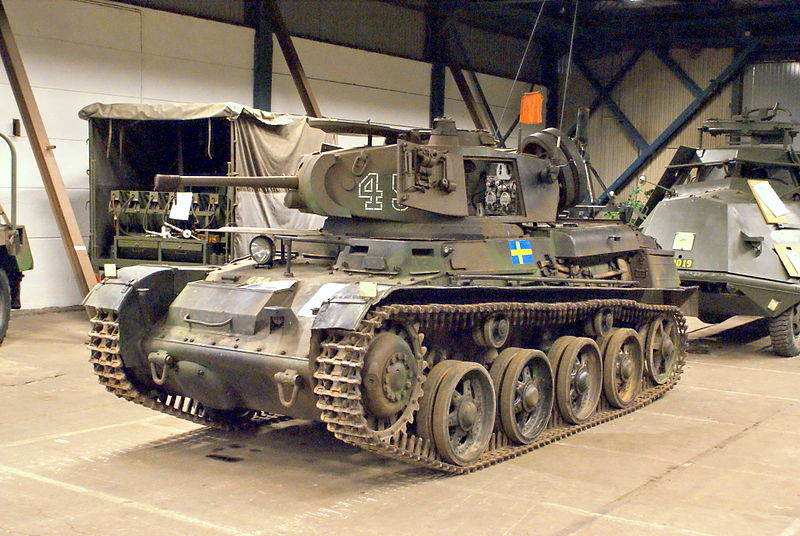 Stridsvagn m/40K in Hässleholm. The L-60 was the first tank to use torsion bar suspensions.