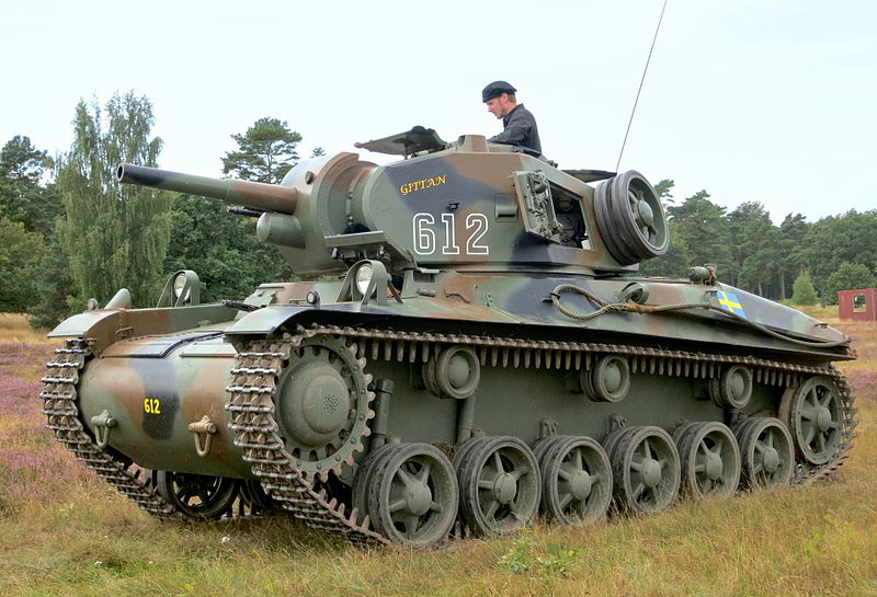 Stridsvagn m/42 at Revinge in 2012. This was the main WW2 Swedish medium tank.