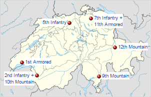 Swiss army brigades locations