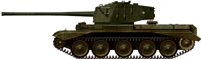 The FV4101 Charioteer (1950) was a Cold War recycling of the hull, fitted with a new turret housing the 20-pdr (84 mm/3.3 inch) gun, first intended for the Army Reserve Territorial units.