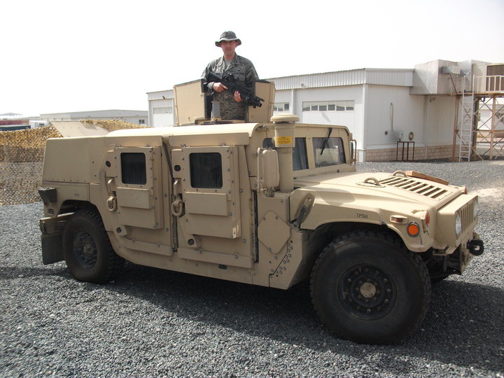 umvee with a FRAG-6 reinforced add-on armour in april 2010