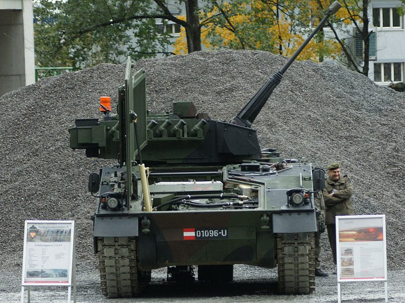An Austrian Ulan being shown-off by the Bundesheer. Notice the frontal armor being raised to allow access to the engine and transmission