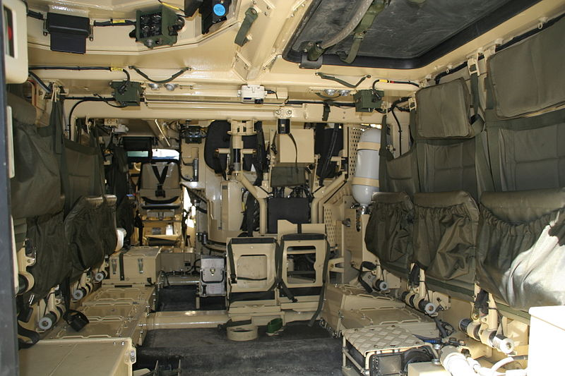 The troop and combat compartments of the Ulan. The driver's position can also be seen on the left, in the back of the photo