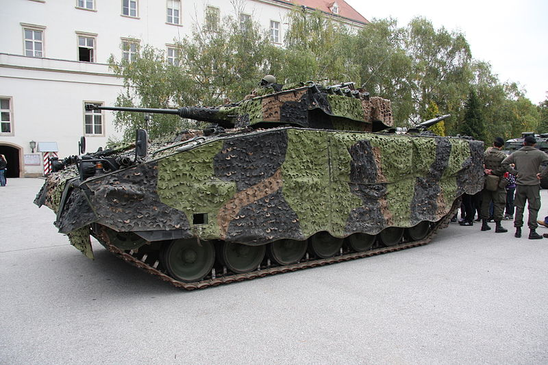 An Ulan fitted with a Mobile Camouflage System from Saab