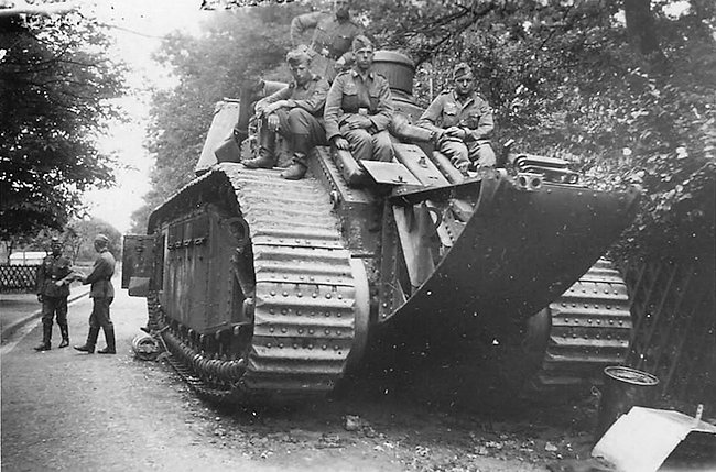 Captured FCM-2C heavy tank with trench crossing tail