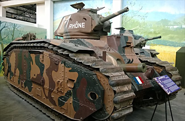 Char B1 bis Renault French WW2 Heavy Tank can be found at the French Tank Museum in Saumur