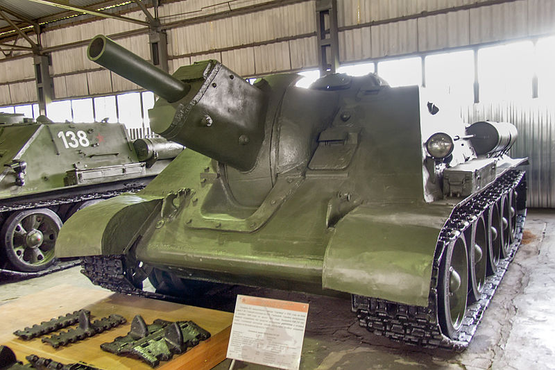 Front view of the SU-122 at the Kubinka tank museum. Notice the elevated gun