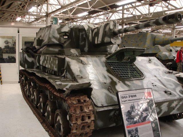 SU-76M in winter camouflage at Bovington