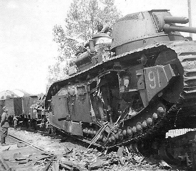 This is a photo of the other side of FCM 2C No.91 Provence Tank showing the damaged caused by the crew.
