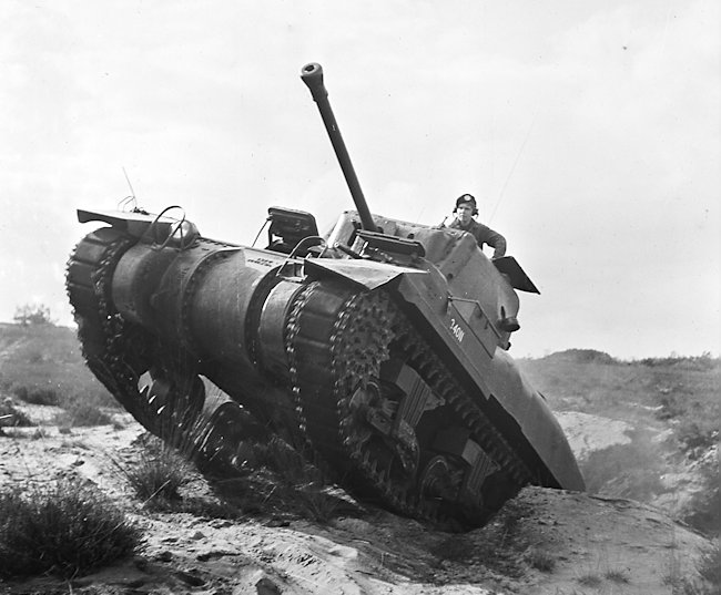 A Royal Netherlands Army Ram II tank being used for training 1948