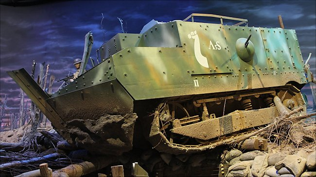 Replica Char Schneider CA1 tank inside the 1st Infantry Division museum in Cantigny Park, IL, USA