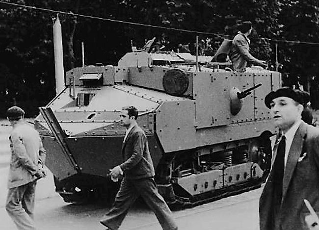 French built WW1 Schneider CA1 tank on the streets in Spain during the Spanish Civil War