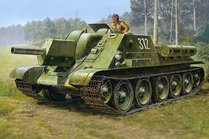 An artistic representation of a SU-122, used on the Tamyia model kits