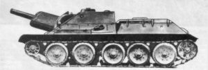 A revealing side photo of the SU-122, showing it's low height