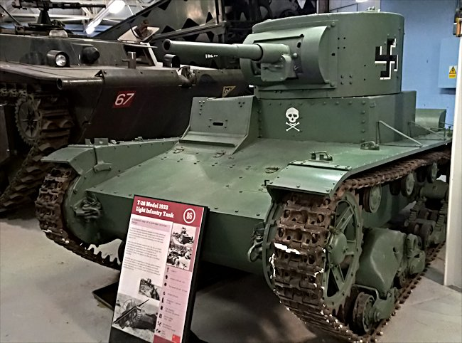 T-26 tank captured by the Finnish and painted in their markings - not German markings