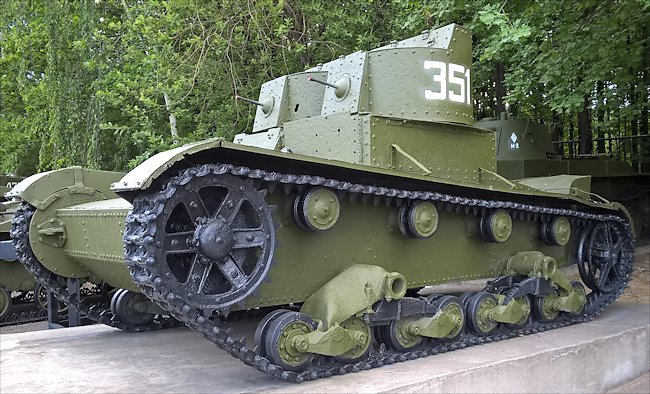 Red Army T-26 twin-turret Light Tank model 1931 at the Central Museum of the Great Patriotic War Museum 1941 - 1945, Park Pobedy, Moscow, Russia
