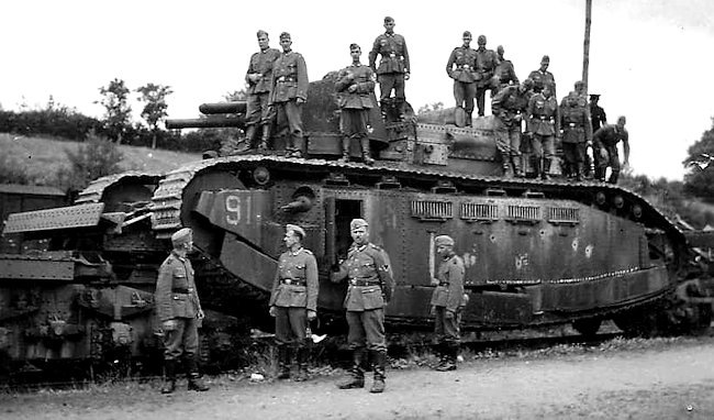 FCM 2C No91 destroyed whilst on the back of a railway flatback wagon