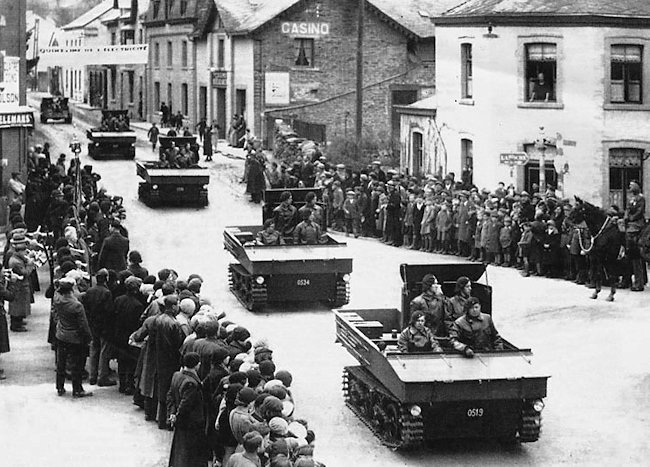 A Troop of Belgium Army T13 B1 Tank Destroyers on Parade