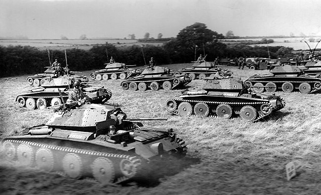 Covenanter tank squadron on training exercise in England during WW2.