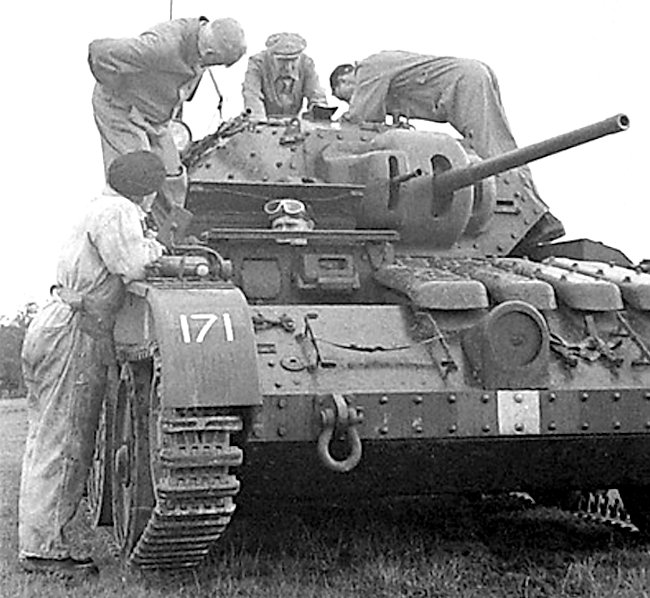 Covenanter A13 Cruiser tank with mechanical problems. A common sight.