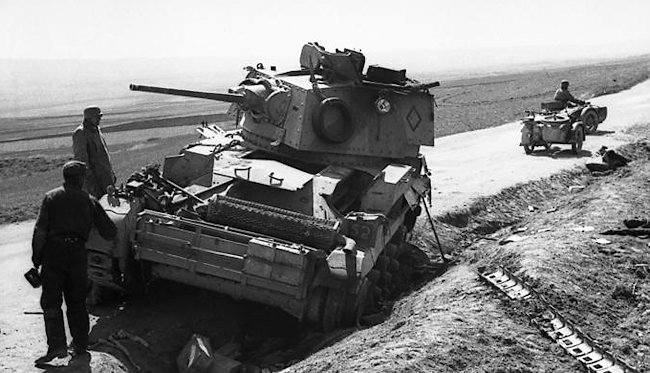 A disabled Mark IIA of the Third Royal Tank Regiment (RTR) in Greece, April 1941