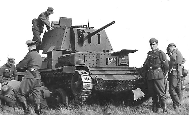 Captured British A10 Cruiser tank in France. It is armed with a 2pdr main gun.