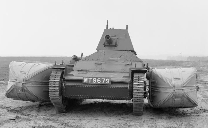 Front view of the Vickers Mark II light tank fitted with two large floatation devices