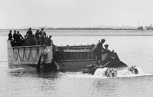 Mk.II tank landing trials in 1ft 6inches of water