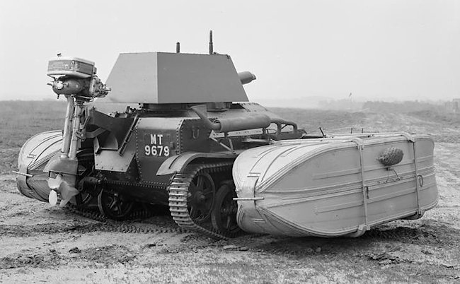 Side view of the floatation devices and the outboard marine motor was fitted to the Vickers Mk.II tank