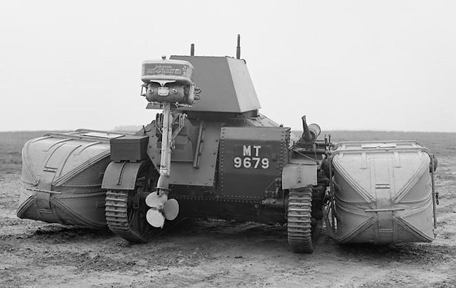 A motorboat's outboard marine motor was fitted to the rear of the Vickers MkII tank