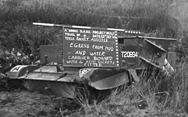 Rocket equipped Universal Carrier experimental vehicle