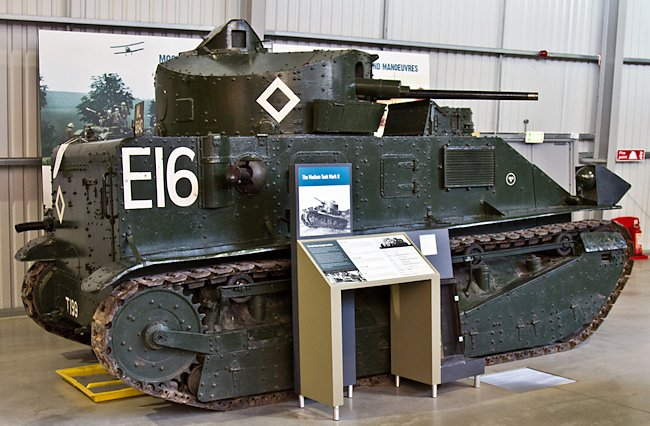 Surviving Vickers Medium Mk.II tank at the Tank Museum, Bovington, England