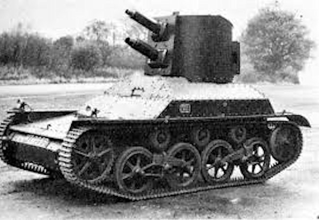 An experimental A4 (Mk.IA), fitted with a turret featuring twin Vickers machine-guns in tandem.