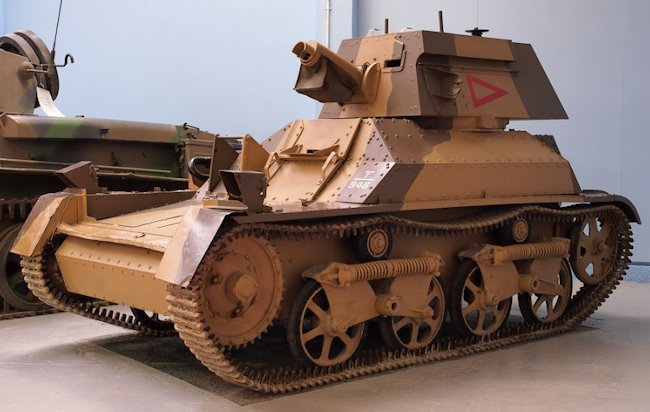 The same Vickers Mk.II Light Tank at Bovington but painted in desert camouflage.