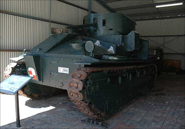 British Vickers Medium Mk.II tank at the RAAC Memorial, Army Tank Museum, Puckapunyal, Victoria, Australia