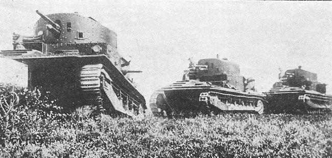 Troop of Vickers Medium Mark II tanks