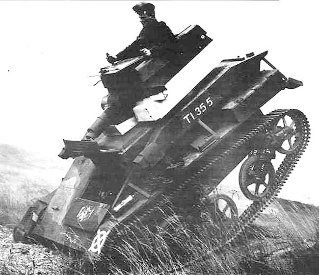 The Vickers Light Tank Mk.IV on trials, just stopping after a run. The excessive rolling is obvious. The Mk.IV was too top-heavy.