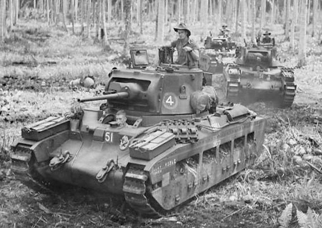 Australian Matilda IIs with the rectangular Black Prince chassis armoured collar