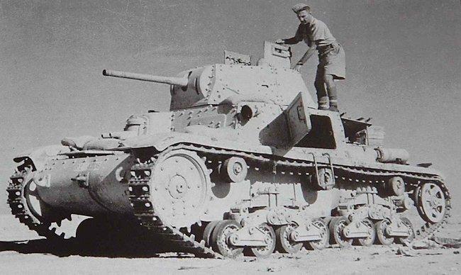 Captured Italian M14/41 tank