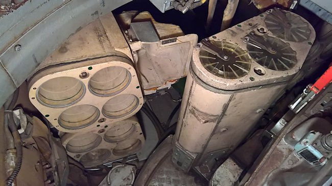 Two-part ammo storage bins inside the Chieftain Tank