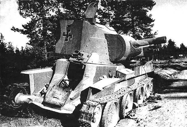 Destroyed BT-42 Assault Gun with three colour camouflage