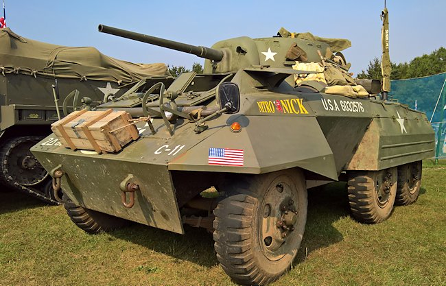 Restored M8 Greyhound Armored Car at the Military Odyssey event in Kent, Southern England
