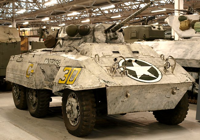 M8 Greyhound Armored Car painted in whitewash snow camouflage