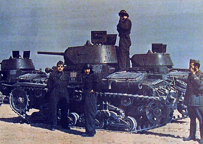 Carro Armato M14/41 Italian Medium Tanks were painted desert yellow when they arrived in North Africa not at the factory.