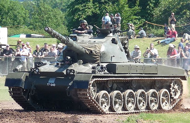Swiss Army restored Panzer 61 tank at the Steel Fest Parade