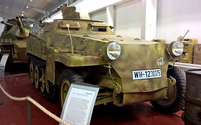 Sd.Kfz.250 German Army halftrack at the Wheatcroft Military Collection, Donington Race Course, UK