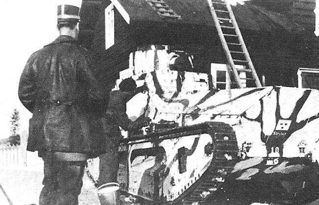 Stridsvagen m/21 tank painted in winter camouflage livery